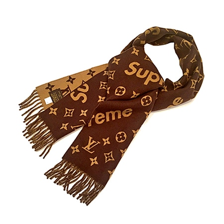 Supreme(シュプリーム)×Louis Vuitton(ルイヴィトン) コラボ LVモノグラムロゴマフラー