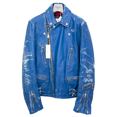 COMME des GARCONS(コムデギャルソン)×LEWIS LEATHERS(ルイスレザーズ)18AW LIVE FREE DIE STRONG ライトニング ライダースジャケット 青山店限定 BLUE