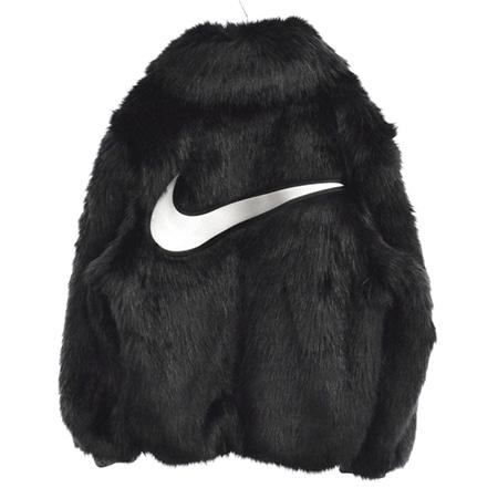 NIKE(ナイキ)×AMBUSH(アンブッシュ)18AW Reversible Faux Fur Coat バックロゴリバーシブルフェイクファーコート BLACK