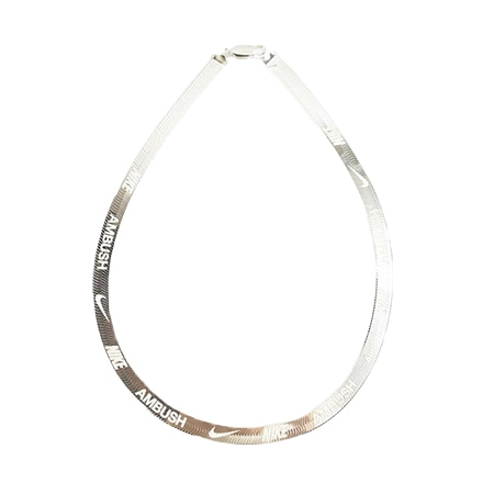 NIKE(ナイキ)×AMBUSH(アンブッシュ)19SS ヘリンボーンチェーンネックレス ロング WHITE GOLD