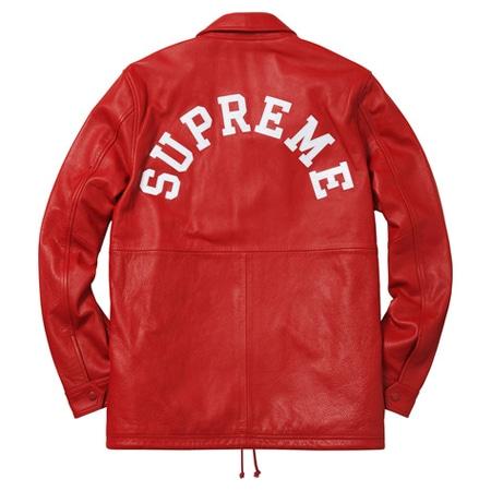 Supreme(シュプリーム)×Champion(チャンピオン)15AW Leather Coaches Jacket レザーコーチジャケット RED