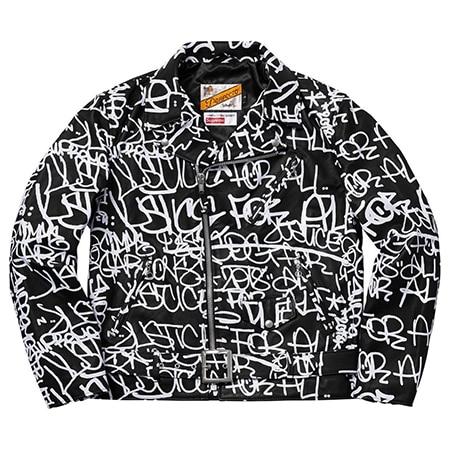 Supreme(シュプリーム)×Comme des Garcons SHIRT(コムデギャルソンシャツ)×Schott(ショット)18AW Painted Perfecto Leather Jacket レザージャケット