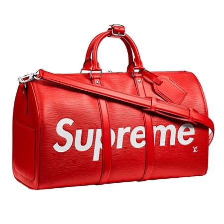 Supreme(シュプリーム)×Louis Vuitton(ルイヴィトン)17-18AW キーポル バンドリエール 45 エピレザーボストンバッグ レッド