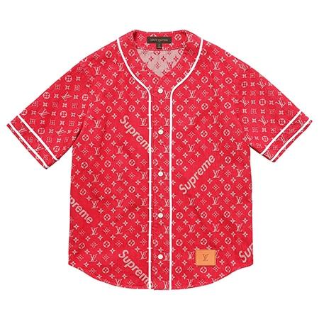 Supreme(シュプリーム)×Louis Vuitton(ルイヴィトン)17-18AW Jacquard Denim Baseball Jersey ベースボールシャツ