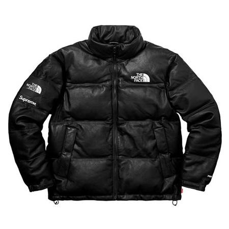 Supreme(シュプリーム)×THE NORTH FACE(ノースフェイス)17AW Leather Nuptse Jacket レザーダウンジャケット
