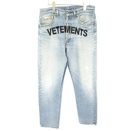 VETEMENTS(ヴェトモン)×Levi's(リーバイス)18SS フロントロゴ刺繍ウォッシュ加工デニムパンツ