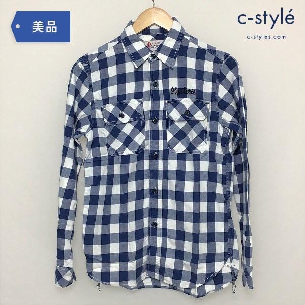 HYSTERIC GLAMOUR ヒステリックグラマー 長袖チェックシャツ ブルー×ホワイト 0243AH04 Sサイズ