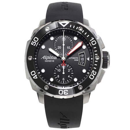ALPINA(アルピナ) Seastrong Diver 300 Chronograph Black Dial Rubber