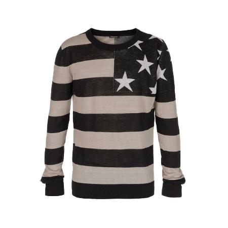 BALMAIN(バルマン) ブラック&ホワイト オーバーサイズ リネン セーター アメリカンフラッグ プリント