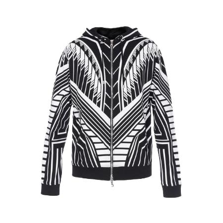 BALMAIN(バルマン) ブラック&ホワイト コットン フード付き スウェットシャツ ジオメトリックプリント