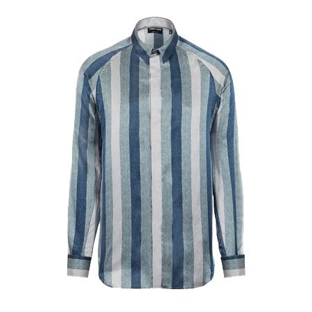 GIORGIO ARMANI(ジョルジオアルマーニ) オリジナルファブリック マクロストライプ レギュラーフィットシャツ