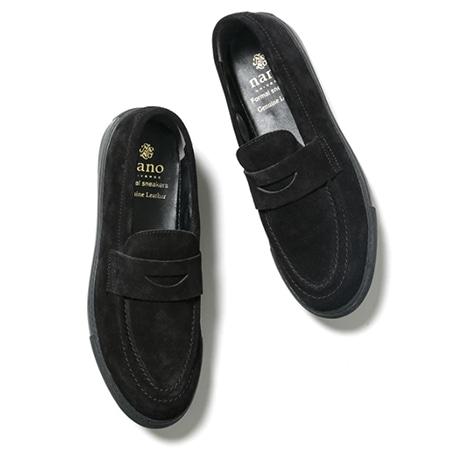 nano universe(ナノユニバース) Formal sneakers スウェードローファー ブラック