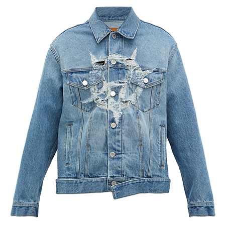 VETEMENTS(ヴェトモン) 19AW ANARCHY DISTRESSED-LOGO COTTON-DENIM JACKET