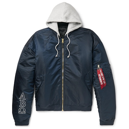 VETEMENTS(ヴェトモン)×ALPHA INDUSTRIES(アルファインダストリーズ) 19AW OVERSIZED REVERSIBLE EMBROIDERED SHELL HOODED BOMBER JACKET