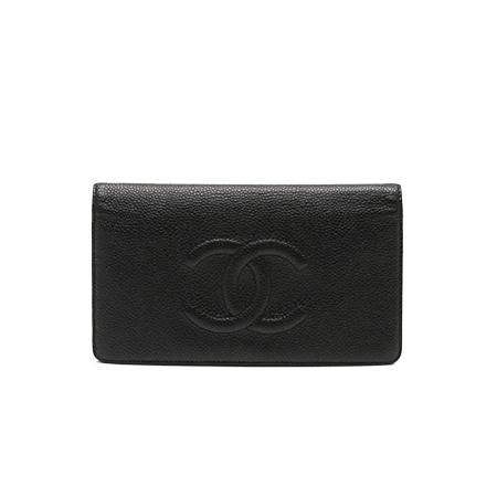 CHANEL(シャネル)ココマーク 二つ折り長財布 キャビアスキン 黒