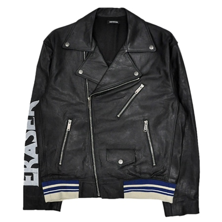 CHRISTIAN DADA(クリスチャンダダ) 18AW PRINT RIBBED LEATHER MOTORCYCLE JACKET