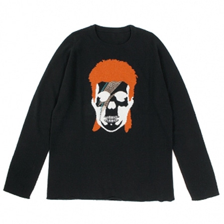 lucien pellat-finet (ルシアン ペラフィネ) David Bowie Skull Cashmere Sweater BLACK × NIVEOUS