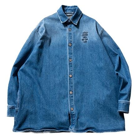 RAF SIMONS(ラフシモンズ)Big fit denim shirt embroidery Indigo