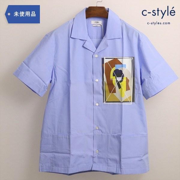 CMMN SWDN(コモンスウェーデン)Genuine Fake Boxy Shirt ボクシー シャツ 半袖 ブルー タグ付き
