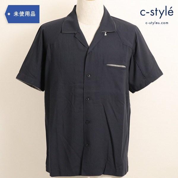 Eesett&Co(イイセットアンドコー)OPEN COLLAR SHIRT (MURPHY) オープン カラーシャツ 半袖 紺