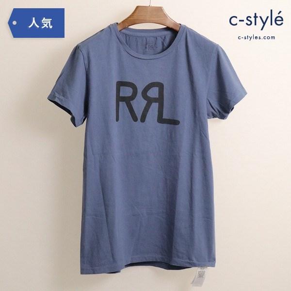 RRL ダブルアールエル クルーネック Tシャツ 半袖 ロゴ ウォッシュ ネイビー S 782504857005