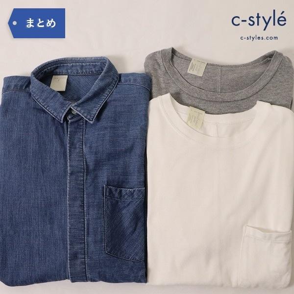 N.HOOLYWOOD エヌハリウッド 比翼 デニムシャツ 40 ポケットTシャツ 38 白 グレー 2枚