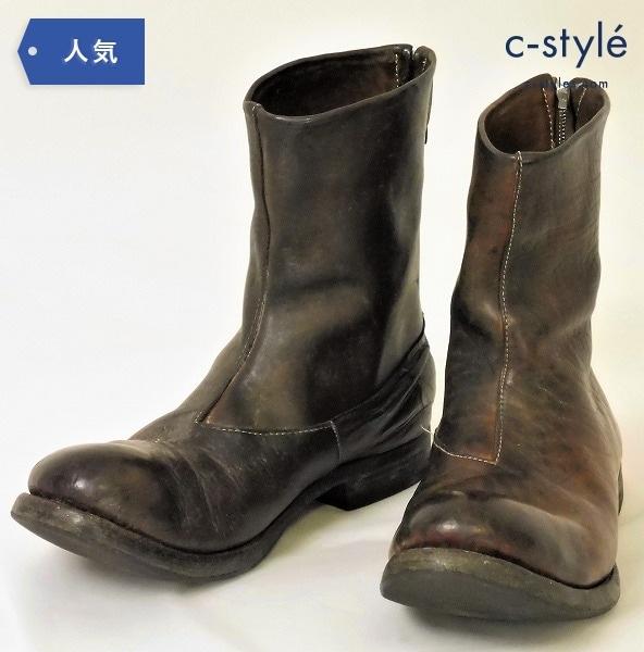 AUGUSTA(オーガスタ) バックジップ ホース レザーブーツ size8(26cm) ブラウン Simone Cecchetto