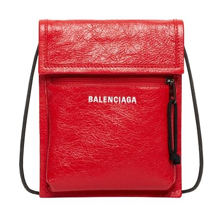 BALENCIAGA(バレンシアガ) エクスプローラー ポーチ ストラップ レザー ルージュ