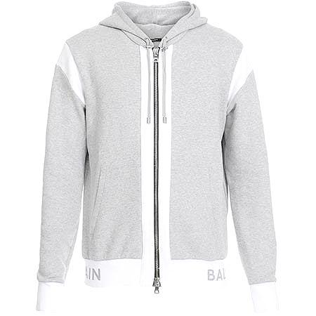 BALMAIN(バルマン) ヘザーグレー&ホワイト コットン フード付き スウェットシャツ パーカー