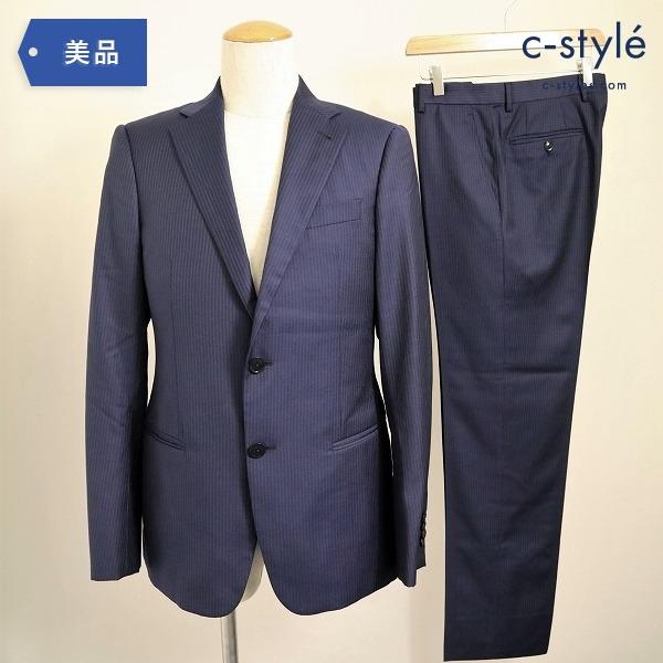 ARMANI COLLEZIONI アルマーニ セットアップ スーツ T Line 46 NAVY ストライプ 2Bシングル