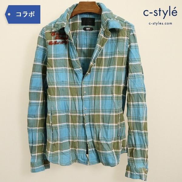 TMT x junhashimoto ジュンハシモト チェック フランネル フック シャツ size3 シワ加工 L BLUE