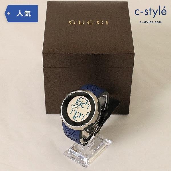 GUCCI グッチ I-Gucci アイグッチ スポーツ YA114105 ブルー ラバー デジタル 箱 説明書 付き