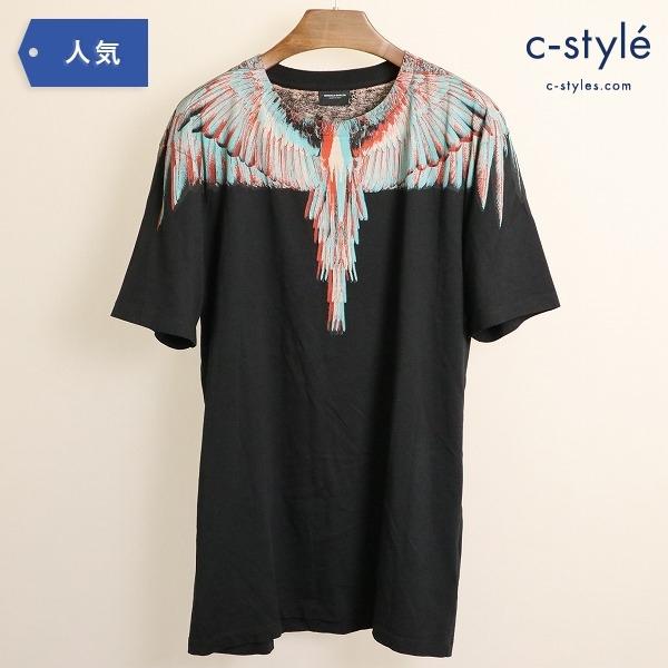 MARCELE BURLON COUNTY OF MILAN マルセロ バーロン フェザー プリント Tシャツ 黒 Sサイズ
