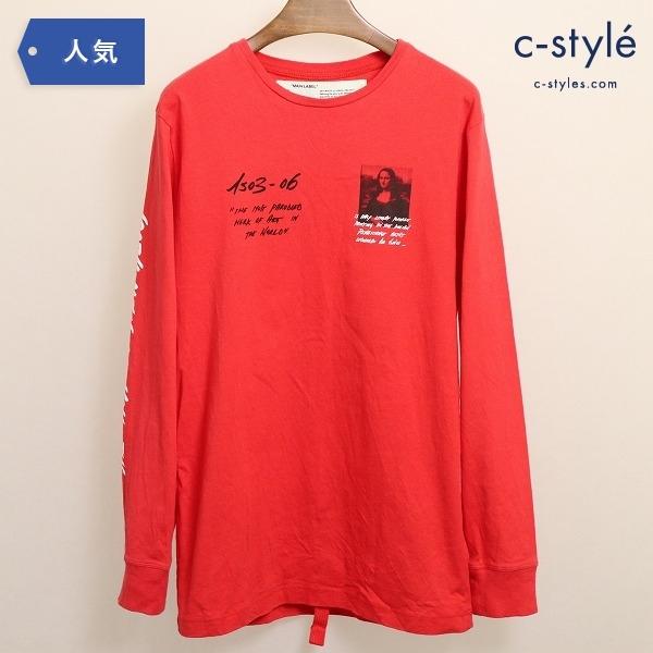 OFF-WHITE オフホワイト 長袖 Tシャツ モナリザ レッド Mサイズ ロンT