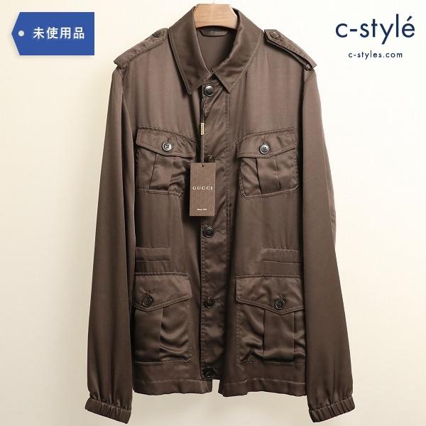 GUCCI グッチ シルク100% ジャケット ブラウン size50 サファリ ミリタリー 薄手
