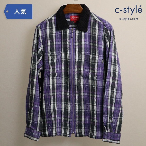 Supreme シュプリーム Plaid Thermal Zip Up Shirt ワッフル チェック サーマル ジャケット S