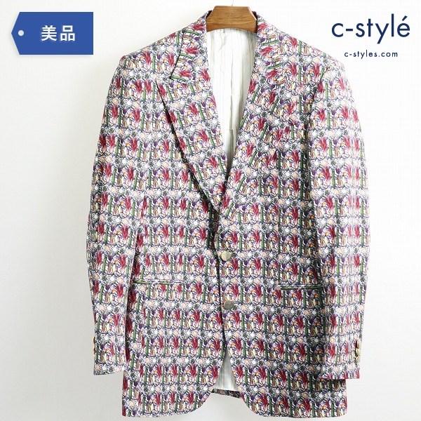 ETRO エトロ コットン テーラードジャケット size48 ペイズリー 野菜柄 イタリア製 ピーク衿