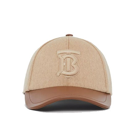 BURBERRY(バーバリー) Monogram Motif Cashmere and Leather Baseball Cap