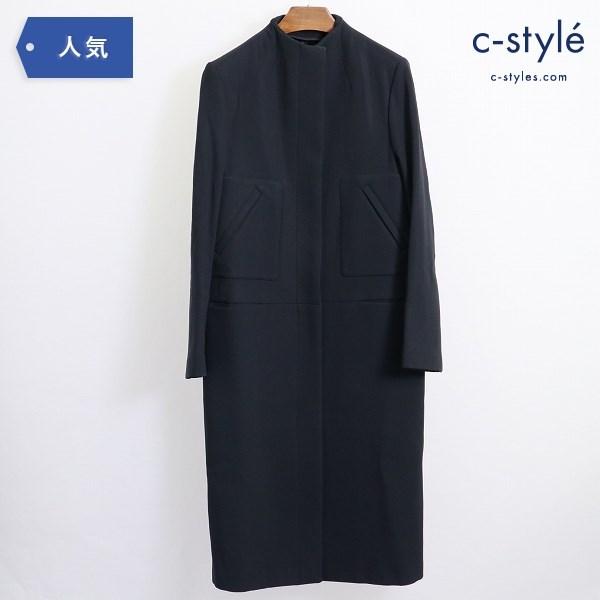 GUCCI グッチ ノーカラー ロングコート ウール ブラック size40 レディース