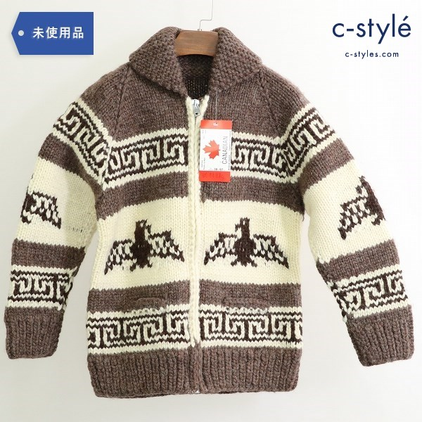 CANADIAN SWEATER COMPANY カナディアン セーター カウチン ジップアップ size38 ブラウン/ナチュラル