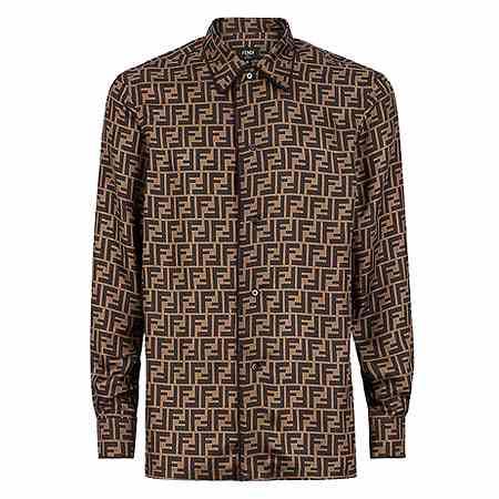FENDI(フェンディ) ウェア ブラウンシルク シャツ