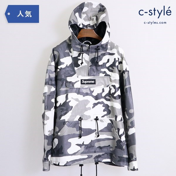 Supreme 18AW Leather Anorak Snow Camo sizeM レザー アノラック パーカー