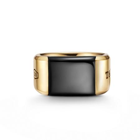 Tiffany(ティファニー) ジュエリー ティファニー 1837 メイカーズ ブラック オニキス シグネット リング 18Kゴールド 12mm幅