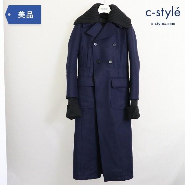 DIESEL BLACK GOLD ディーゼル ウール ロングコート size38 袖 襟 ニット 着脱 レディース