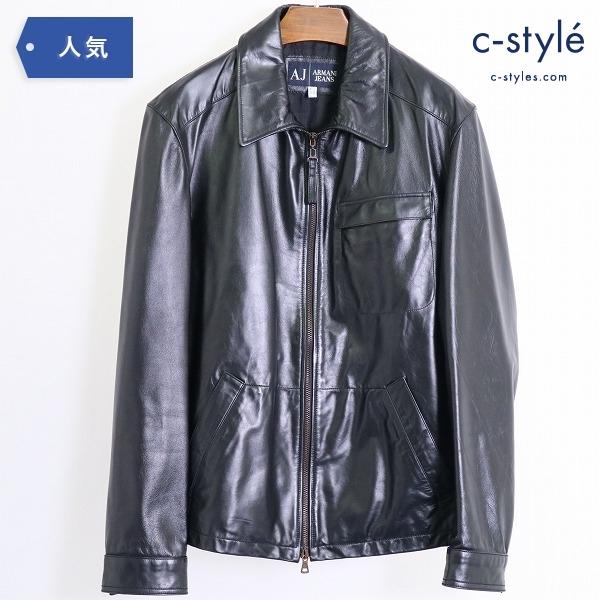 ARMANI JEANS アルマーニジーンズ 襟付きシングル レザー ライダースジャケット size46 Black