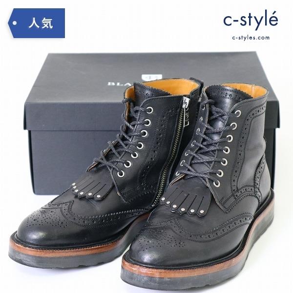 ブラックレーベル クレストブリッジ レザー ブーツ 27cm ウィングチップ サイドジップ
