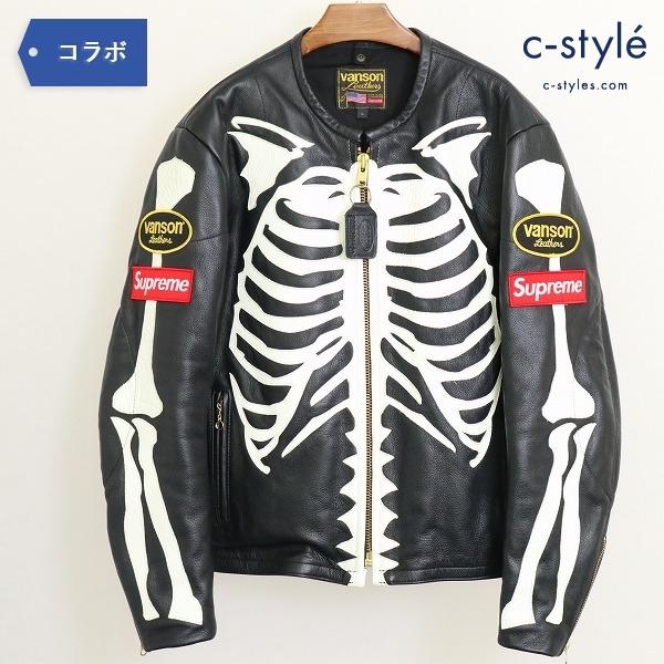 Supreme シュプリーム x Vanson バンソン 17AW Leather Bones Jacket L シングル ライダース