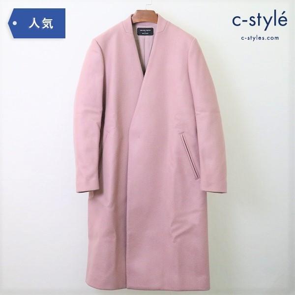 ユナイテッドトウキョウ UNITED TOKYO ノーカラー ロング コート size1 Vネック ウール ピンク