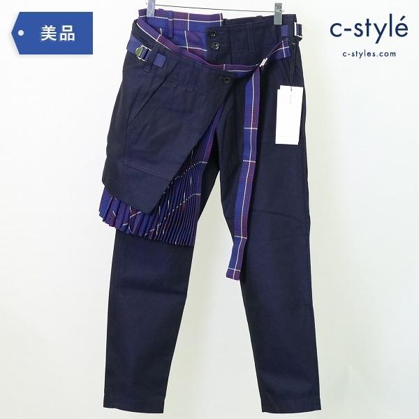 sacai サカイ 18AW チェック プリーツ 巻きスカート付き パンツ size1 レディース
