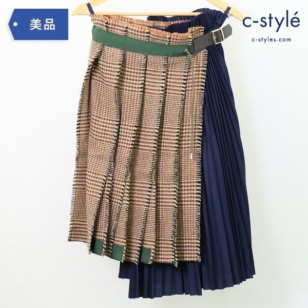 sacai サカイ 18AW プリーツ ラップ スカート size1 チェック ツイード 切替